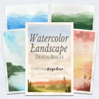 Watercolor Landscapes Design Assets