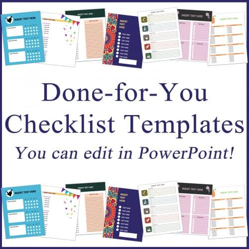 "<p>Checklists are incredibly popular, and they are a fantastic way to increase the value of your printables, including journals, planners, one-page printables, workbooks, worksheets, or more.</p> <p>Get started easily with 30 Custom Designed, Full-Page 8×11 checklist templates, all in editable PowerPoint Format.</p> <p>Use them in planners, workbooks, printables, journals, even sell them on Amazon…and more!</p> <p>"" width=""46″ height=""24″ /></a></p> <p style="