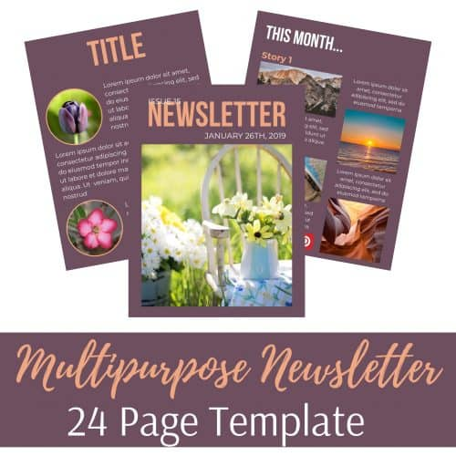 "<p>Multipurpose Canva Newsletter Template</p> <p>Are you looking for TOTALLY editable Canva Templates?</p> <p>This 24 page multipurpose newsletter template is the solution that will help you design a newsletter, report, free opt in, content upgrade or any other resource for your business.</p> <p>Saves you so much time as you don't have to design anything from scratch.</p> <p>"" width=""46″ height=""24″ /></a></p> <p style="