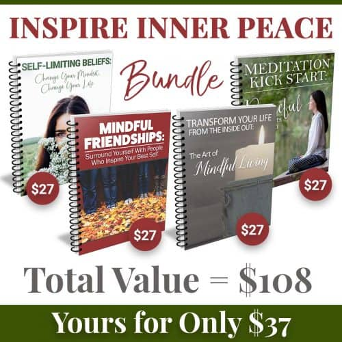 "<p>This bundle includes packages that are designed to inspire inner peace that will help move you forward to a more enjoyable life. The bundle includes 4 full packages:</p> <p>-Self-Limiting Beliefs: Change Your Mindset, Change Your Life<br /> -The Art of Mindful Living<br /> -Mindful Friendships: Surround Yourself With People Who Inspire Your Best Self<br /> -Meditation Kick Start: Peaceful Moments for You</p> <p>"" width=""46″ height=""24″ /></a></p> <p style="