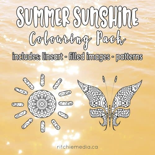 "<p>This is a 340-piece coloring kit featuring summer sun shapes, butterflies, flowers, and extra patterns with our commercial use license. Use them for coloring books, journals, planners, or anything else your imagination comes up with.</p> <p>"" width=""46″ height=""24″ /></a></p> <p style="
